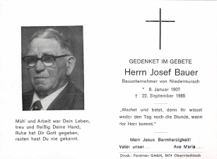 Bauer Josef 1 + 22.09.1985