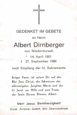 Dirnberger Albert+ 27.09.1986