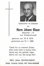 Glaser Johann + 10.01.1985