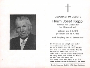 Köppl Josef + 13.04.1985