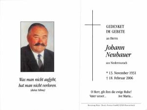 Neubauer Johann +18.02.2006