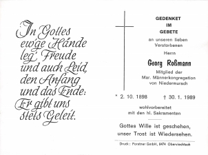 Roßmann Georg + 30.01.1989