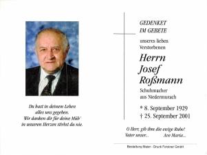 Roßmann Josef +25.09.2001