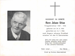 Johann Urban +18.7.1982