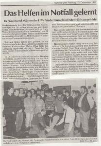 Erste Hilfe Kurs 1997 @FFW Niedermurach