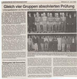 Leistungsabzeichen Herren- & Damengruppe 1995 @FFW Niedermurach