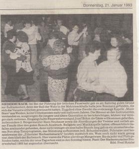 Faschingsball 1993 @FFW Niedermurach