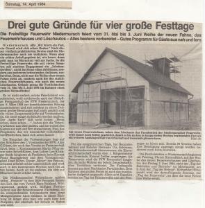 Vorberichte zum Feuerwehrfest 1984 @FFW Niedermurach
