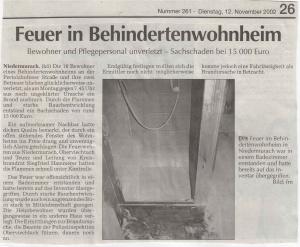 Brand Behindertenwohnheim Niedermurach FFW Niedermurach