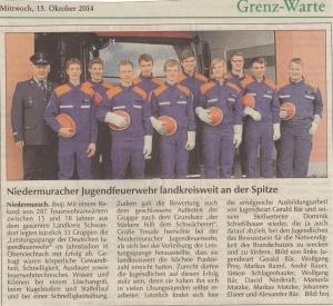 Leistungsspange Jugendfeuerwehr in OVI 2014 FFW Niedermurach