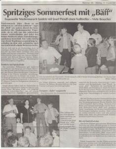 Sommerfest 2001 FFW Niedermurach
