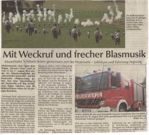 """Planungen zu """"Mouara feiert II"""" (Fahrzeugweihe) 2014 FFW Niedermurach"""