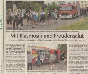 Ankunft des neuen Einsatzfahrzeuges 2014 FFW Niedermurach