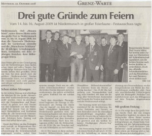 """Festausschuss """"Mouara feiert"""" 2008 FFW Niedermurach"""