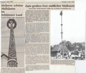 Maibaumaufstellen 1996 @FFW Niedermurach