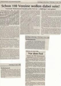 Vorberichte zum 125jährigen Gründungsjubiläum @FFW Niedermurach