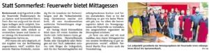 """Mittagessen """"to go"""" + Erstmals seit 40J. kein Sommerfest @FFW Niedermurach"""